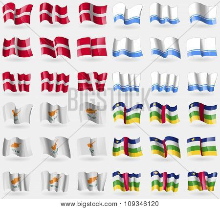 Military Order Malta, Altai Republic, Cyprus, Central African Republic. Set Of 36 Flags Of The
