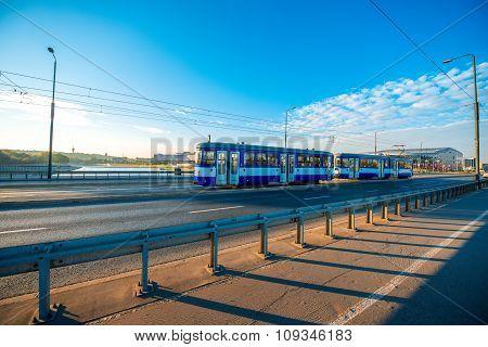 Tram on the Bridge in Krakow