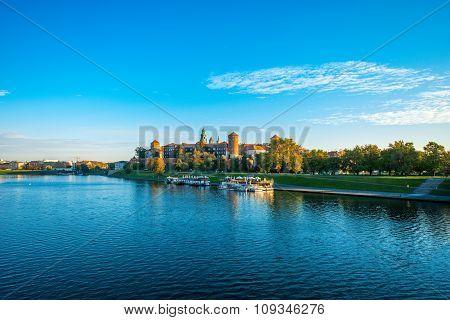 Beautiful view on Vistula river near Wawel castle in Krakow