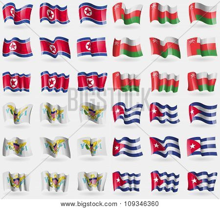 Korea North, Oman, Virginislandsus, Cuba. Set Of 36 Flags Of The Countries Of The World.