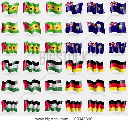 Sao Tome And Principe, Saint Helena, Palestine, Germany. Set Of 36 Flags Of The Countries Of The