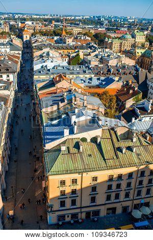 Aerial view on Florianska street in Krakow