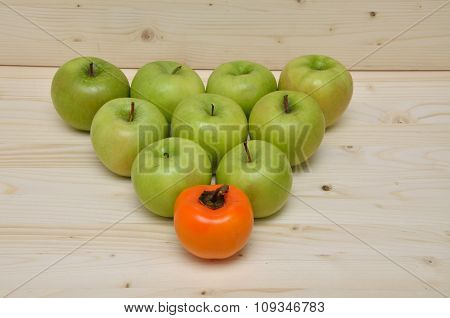 Green Apples And Orange Kaki Apple