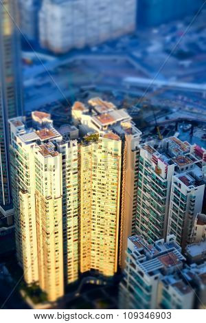 Abstract Futuristic Cityscape. Hong Kong. Tilt Shift Effect