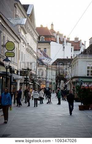 Shopping street city Baden near Vienna