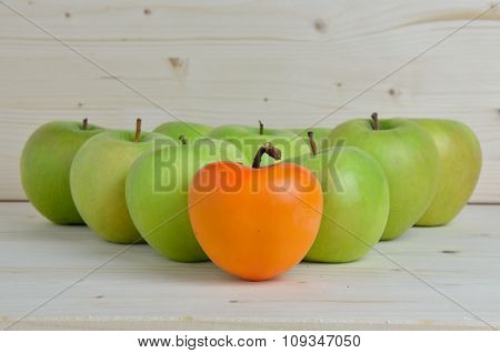 Orange, Kaki, Apple And Green Apples