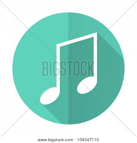 music blue web flat design circle icon on white background