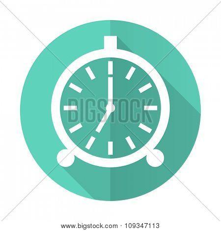 alarm blue web flat design circle icon on white background