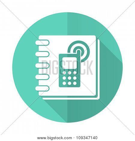 phonebook blue web flat design circle icon on white background