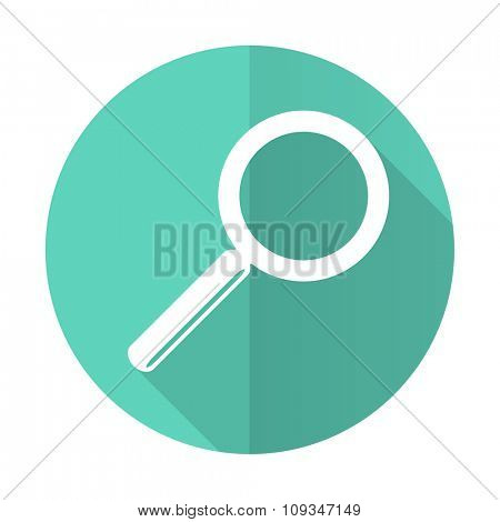 search blue web flat design circle icon on white background