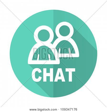 chat blue web flat design circle icon on white background