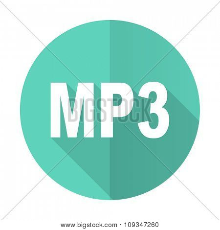 mp3 blue web flat design circle icon on white background