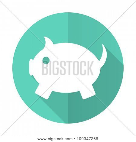 piggy bank blue web flat design circle icon on white background