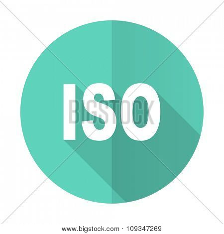 iso blue web flat design circle icon on white background