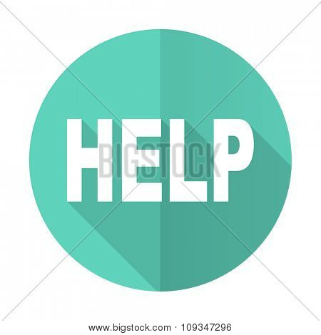 help blue web flat design circle icon on white background