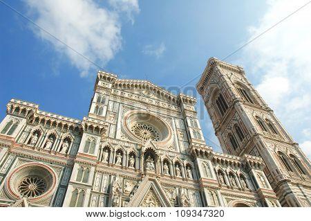 The front of the Basilica di Santa Maria del Fiore (Basilica of Saint Mary of the Flower)