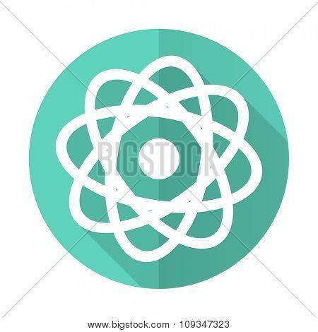 atom blue web flat design circle icon on white background