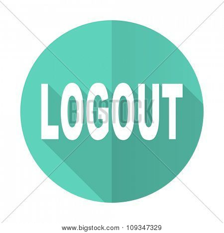 logout blue web flat design circle icon on white background
