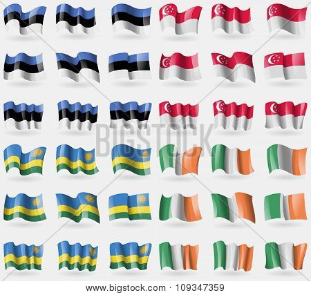Estonia, Singapore, Rwanda, Ireland. Set Of 36 Flags Of The Countries Of The World.