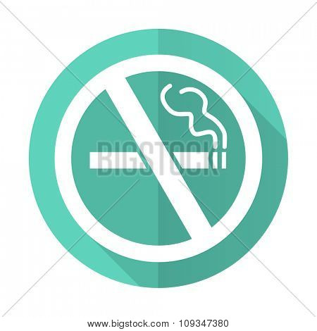no smoking blue web flat design circle icon on white background