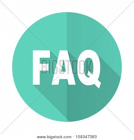 faq blue web flat design circle icon on white background