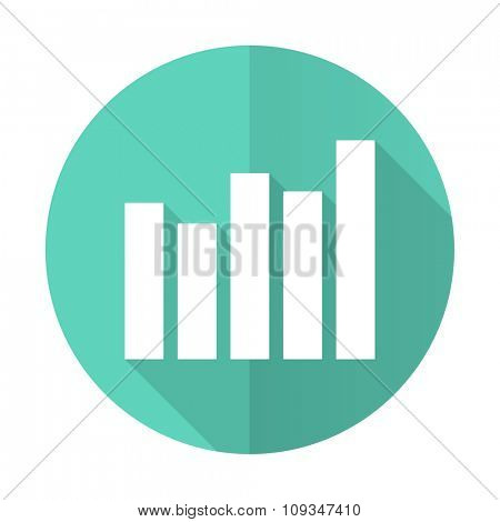 graph blue web flat design circle icon on white background