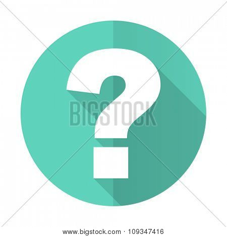 question mark blue web flat design circle icon on white background