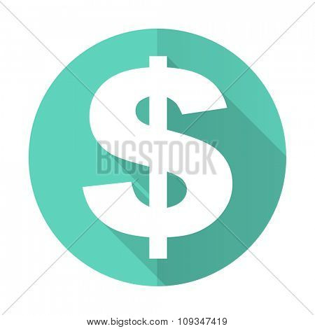 dollar blue web flat design circle icon on white background