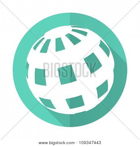 earth blue web flat design circle icon on white background