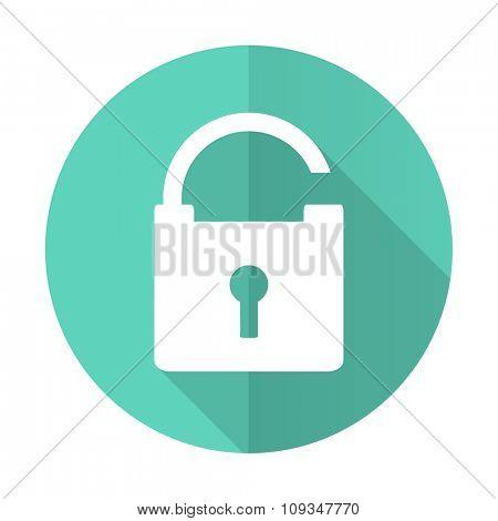 padlock blue web flat design circle icon on white background