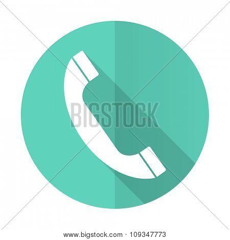 phone blue web flat design circle icon on white background