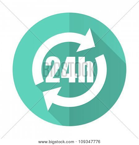 24h blue web flat design circle icon on white background