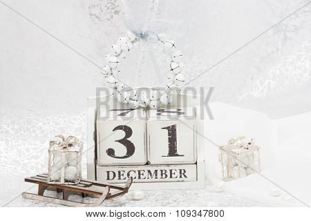 New Year Date On Calendar. December 31. Christmas Decorations. G