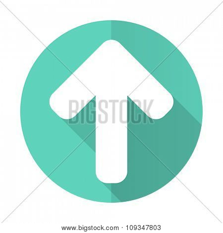 up arrow blue web flat design circle icon on white background