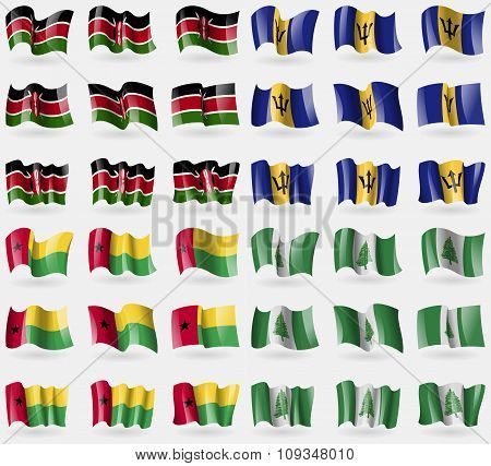 Kenya,  Barbados, Guineabissau, Norfolk Island. Set Of 36 Flags Of The Countries Of The World.