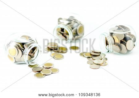 Money Jar With Thai Coin On Isolated Background