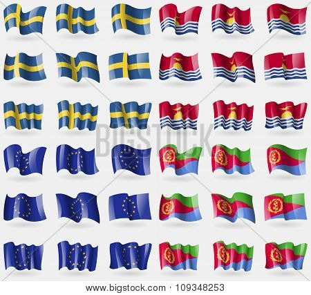 Sweden, Kiribati, European Union, Eritrea. Set Of 36 Flags Of The Countries Of The