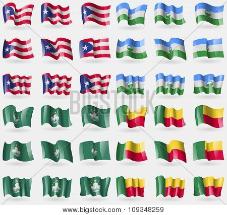 Puerto Rico, Kabardino Balkaria, Macau, Benin. Set Of 36 Flags Of The Countries Of The World.