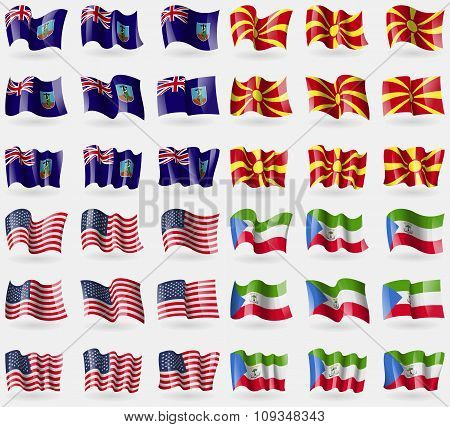 Montserrat, Macedonia, Usa, Equatorial Guinea. Set Of 36 Flags Of The Countries Of The World.