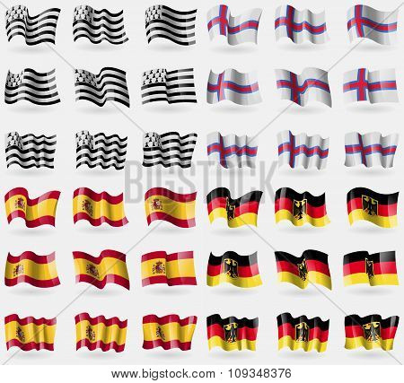 Brittany, Faroe Islands, Spain, Germany. Set Of 36 Flags Of The Countries Of The World.