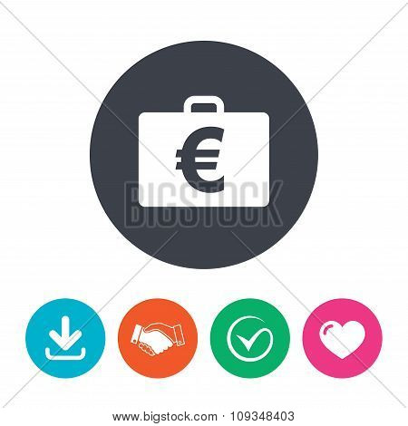 Case with Euro EUR sign. Briefcase button.