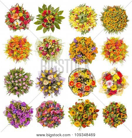 Top view of sixteen colorful flower bouquets.