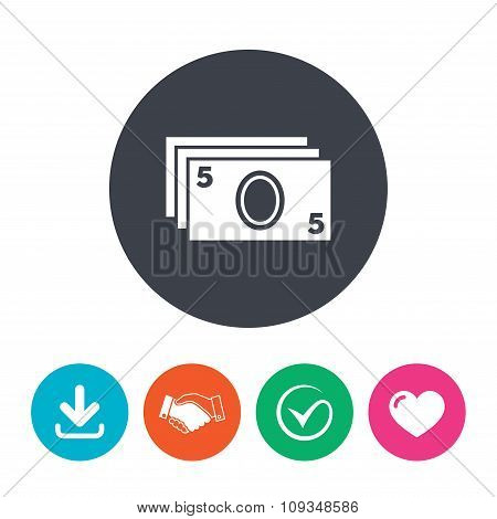 Cash sign icon. Paper money symbol.