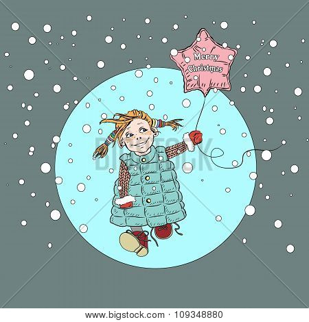 Little girl with balloon Merry Christmas walks under the snow