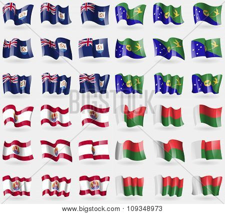 Anguilla, Christmas Island, French Polynesia, Madagascar. Set Of 36 Flags Of The Countries Of The