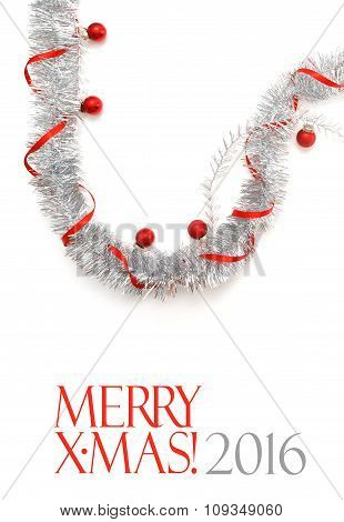 Greeting Card Made Of Silver Tinsel With Red Christmas Balls And Red Ribbon