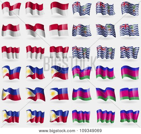 Indonesia, British Indian Ocean Territory, Philippines, Kuban Republic. Set Of 36 Flags Of The