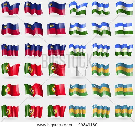 Liechtenstein, Bashkortostan, Portugal, Karakalpakstan. Set Of 36 Flags Of The Countries Of The