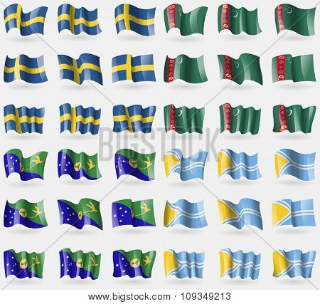 Sweden, Turkmenistan, Christmas Island, Tuva. Set Of 36 Flags Of The Countries Of The World.