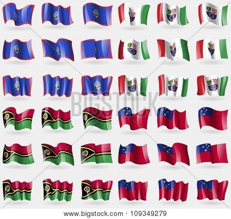 Guam, Bosnia And Herzegovina Federation, Vanuatu, Samoa. Set Of 36 Flags Of The Countries Of The